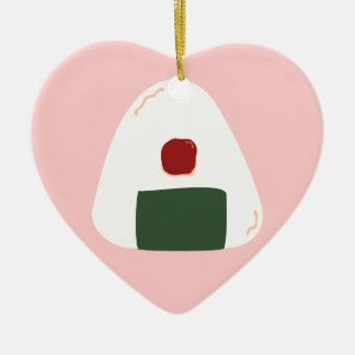 """Onigiri ♥"" ~Pink ver~ Personalized Heart Ornament"