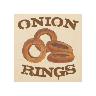 Onion Rings Carnival Food Foodie Kitchen Diner Wood Wall Decor