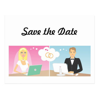 Online Bridal Couple Save the Date Postcard