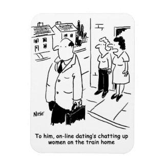 Online Dating Cartoon Rectangular Photo Magnet
