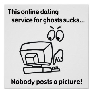 Online Dating Ghost Halloween Poster