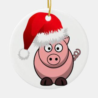 Online Farming Christmas Pig Round Ceramic Decoration