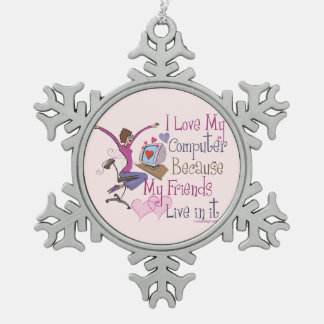 Online Friends Saying Design Snowflake Pewter Christmas Ornament