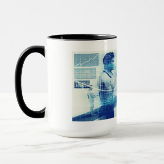 Online Meeting for Business with Men Shaking Hands Mug