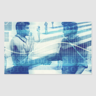 Online Meeting for Business with Men Shaking Hands Rectangular Sticker