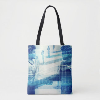 Online Meeting for Business with Men Shaking Hands Tote Bag