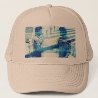 Online Meeting for Business with Men Shaking Hands Trucker Hat