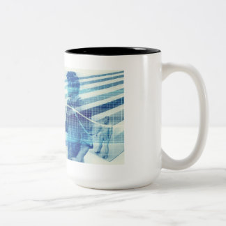 Online Meeting for Business with Men Shaking Hands Two-Tone Coffee Mug