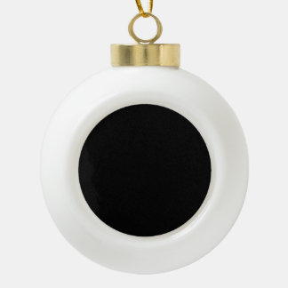 Only black cool solid color background ceramic ball christmas ornament