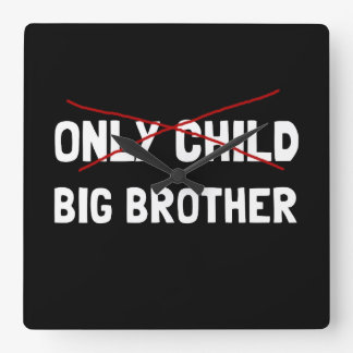 Only Child Big Brother Square Wall Clock