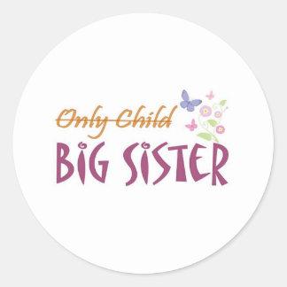 only child sister round sticker