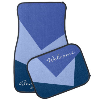 Only Color Background - blue + your ideas Car Mat