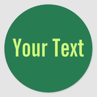 ONLY COLOR | dark green + your text Round Sticker