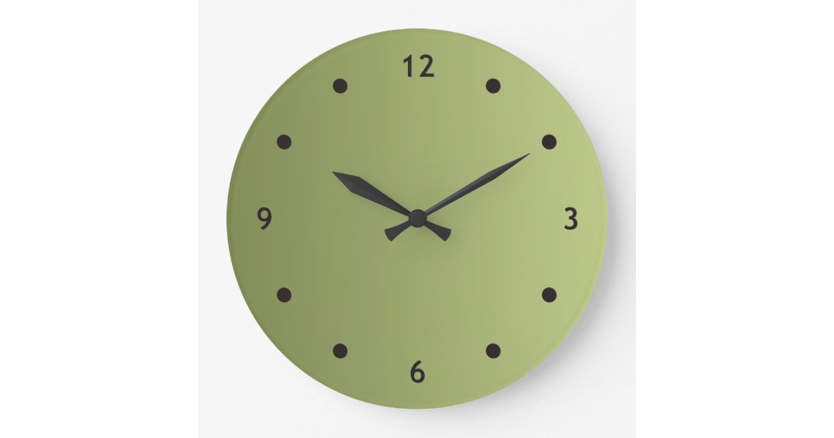 Only Color Gradients Olive Green Clock Face Dot Zazzle