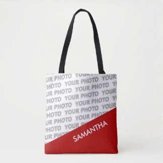 ONLY COLOR RECTANGLES - red + your ideas Tote Bag