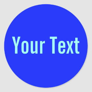 ONLY COLOR royal blue + your text Round Sticker