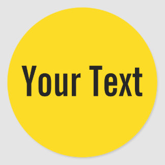 ONLY COLOR | yellow + your text Round Stickers