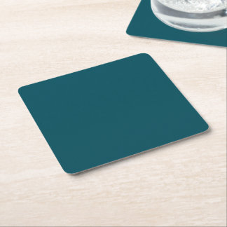 Only dark teal blue coral solid color OSCB30 Square Paper Coaster