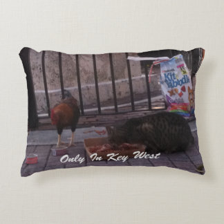 """""""Only In Key West"""" Cat & Rooster Pillow"""