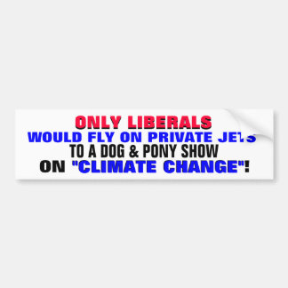 ONLY LIBERALS WOULD FLY ON PRIVATE JETS TO A... CAR BUMPER STICKER