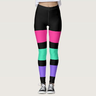 ONLY STRIPES - pink, mint, light lilac Leggings