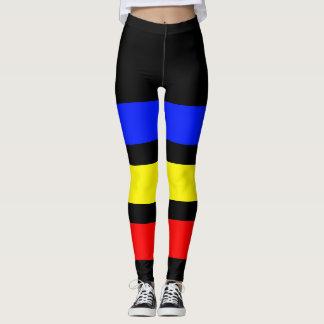 ONLY STRIPES - royal blue, lemon yellow, fire red Leggings