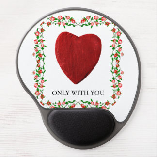 Only with you rose frameworks with heart gel mouse pad