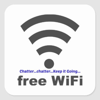 Onomatopoeia word chatter thinking WiFi Square Sticker