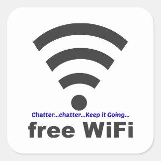 Onomatopoeia word chatter thinking WiFi Square Sticker