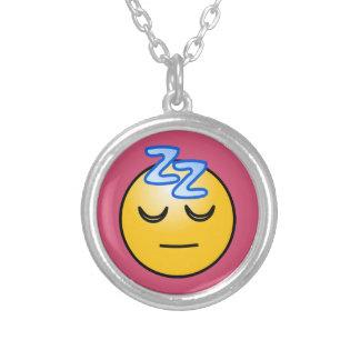 Onomatopoeia word zzZZ thinking sleep, relaxation Round Pendant Necklace