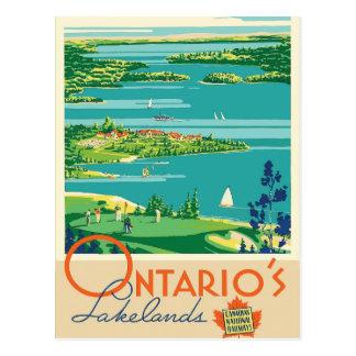 Ontario Canada lakes vintage travel postcard