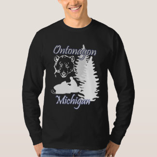 Ontonagon Michigan Snowmobile Bear LS Black T-Shirt