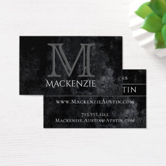 Onyx Business | Monogram Black Simple Classic | Business Card