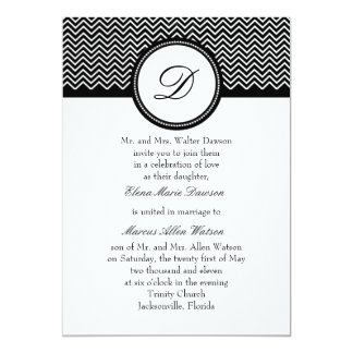 Onyx Chevron Monogram Wedding Invitation