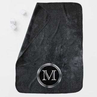 Onyx Chic Black Matte Charcoal Chalkboard Monogram Baby Blanket