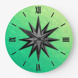 Onyx compass rose - peridot green background wall clock