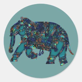 Onyx Elephant Round Sticker