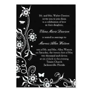 Onyx Floral Swirl Wedding Invitation