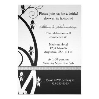 Onyx Floral Vine Bridal Shower Invitation
