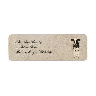 Onyx & Ivory Cow Address Label
