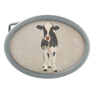 Onyx & Ivory Cow Belt Buckle