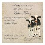 Onyx & Ivory Cows Baby Invitation
