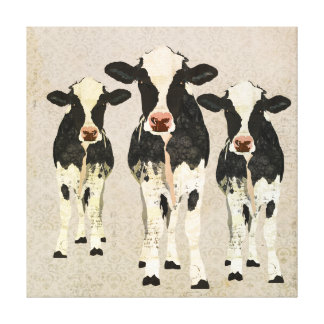 Onyx & Ivory Cows Canvas Stretched Canvas Print