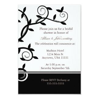 Onyx Leafy Vine Bridal Shower Invitation