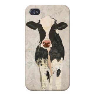 Onyx & Pearl Cow Damask i iPhone 4 Cover