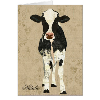 Onyx & Pearl Cow Personalized Notecard Greeting Card