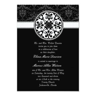 "Onyx Rosette Wedding Invitation 5"" X 7"" Invitation Card"
