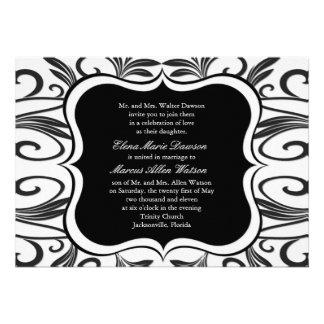 Onyx Swirl Emblem Wedding Invitation