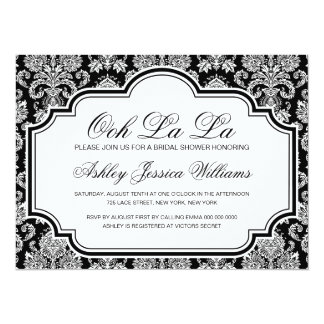 Ooh La La Black And White Damask Bridal Shower 14 Cm X 19 Cm Invitation Card