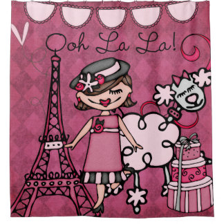 Ooh La La Brown Haired Diva Eiffel Tower Poodle Shower Curtain